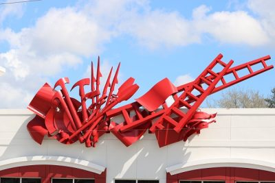 Artist Albert Paley's public art piece, Vigilance, atop the new Tamarac Fire Station 87. Photo by Sue Siebert.