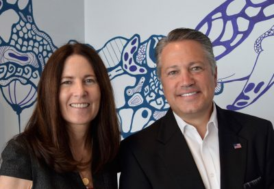 Photograph of Chip LaMarca with Leslie Fordham, Administrator, Broward County Public Art Program.