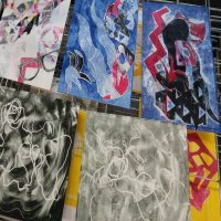 Experimental Monoprinting with Stencils