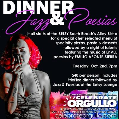 DINNER, JAZZ y POESIAS Night on South Beach