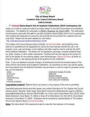 Call to Artists for Arts & Seafood Celebration poster, media art.