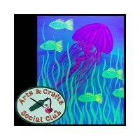 "BYOB BLACKLIGHT/Glow Paint Painting Class - ""Jellyfish"""