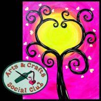 "BYOB BLACKLIGHT/Glow Paint Painting Class - ""Tree of Hearts"""