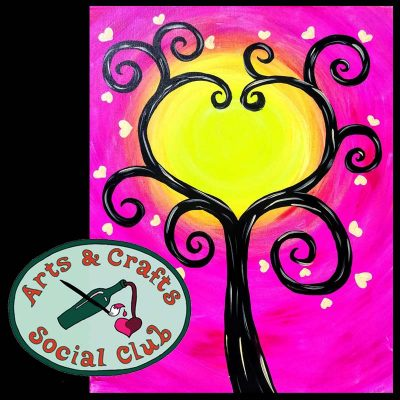"BYOB BLACKLIGHT/Glow Paint Painting Class ""Neon Tree of Hearts"" • Arts and Crafts Social Club"