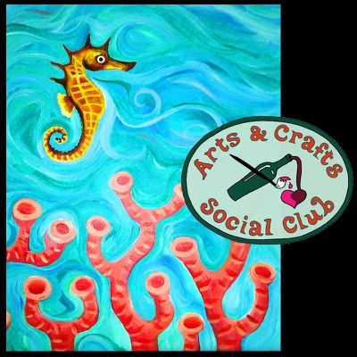 """BYOB Painting Class """"Seahorse"""" • Arts and Crafts..."""