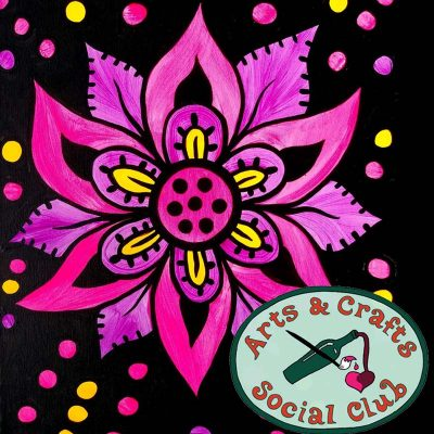 "BYOB BLACKLIGHT/Glow Paint Class ""Glowing Flower"" • Arts and Crafts Social Club"