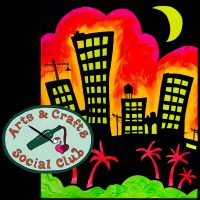 "BYOB BLACKLIGHT/Glow Paint Class ""Tropical City"" • Arts and Crafts Social Club"