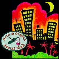 "BYOB BLACKLIGHT/Glow Paint Class ""Tropical City"" • Arts and Crafts Social Club"