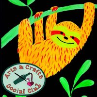 "BYOB BLACKLIGHT/Glow Paint Class ""Sloth"" • Arts and Crafts Social Club"