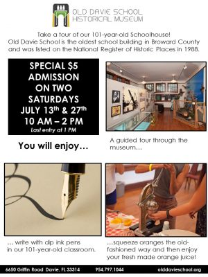 Old Davie School Museum Special Admission Day