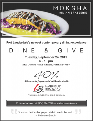 "MOKSHA Indian Brasserie ""Dine and Give"" Night - Le..."