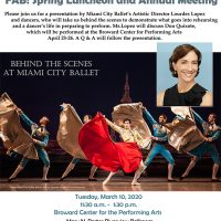 Funding Arts Broward (FAB!) Spring Luncheon featuring Miami City Ballet's Lourdes Lopez at BCPA