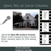 CANCELED - Open Mic at Savor Cinema