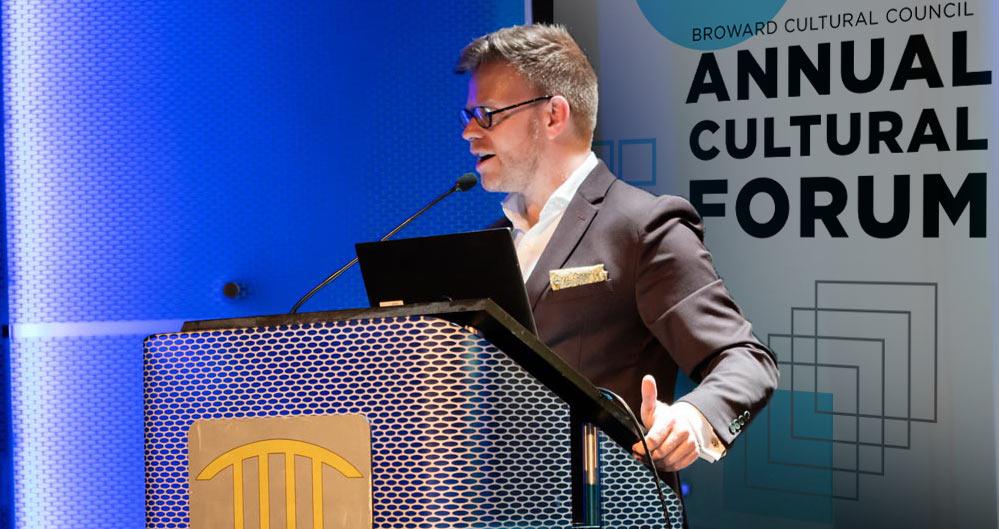 Phillip Dunlap addresses the 2019 Annual Cultural Forum.
