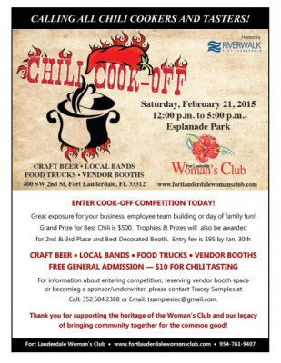 Fort Lauderdale Womans Club First Annual Chili Cook Off Presented