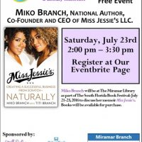 Book Discussion & Signing with Miko Branch, National Author and CEO of Miss Jessie's LLC.
